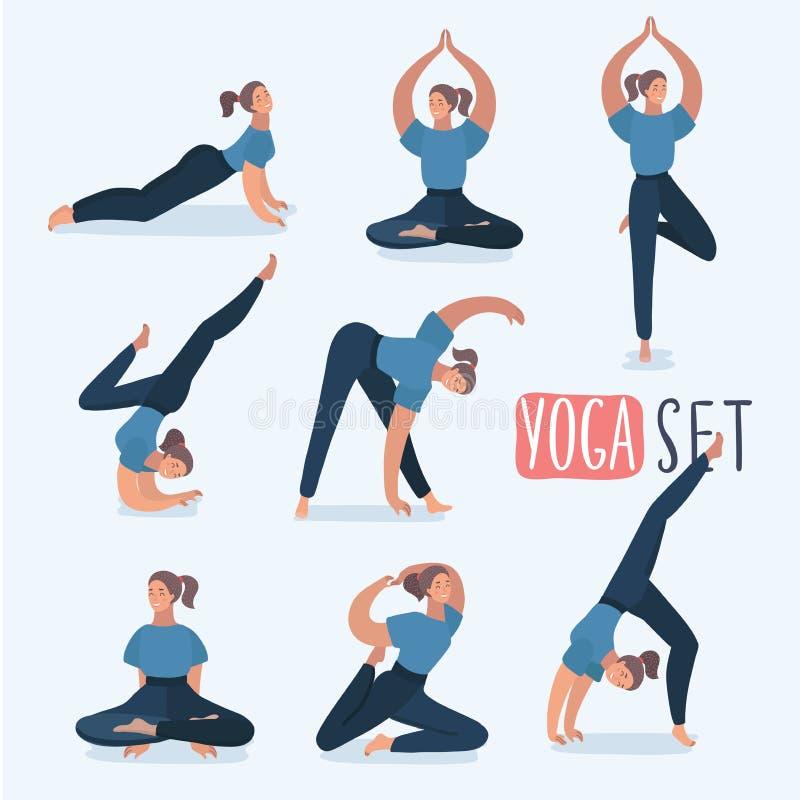 Девушка шаржа в йоге представляет с названиями для beginners изолированных на белой предпосылке иллюстрация вектора