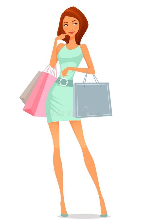 Девушка шаржа в платье лета, ходя по магазинам иллюстрация вектора