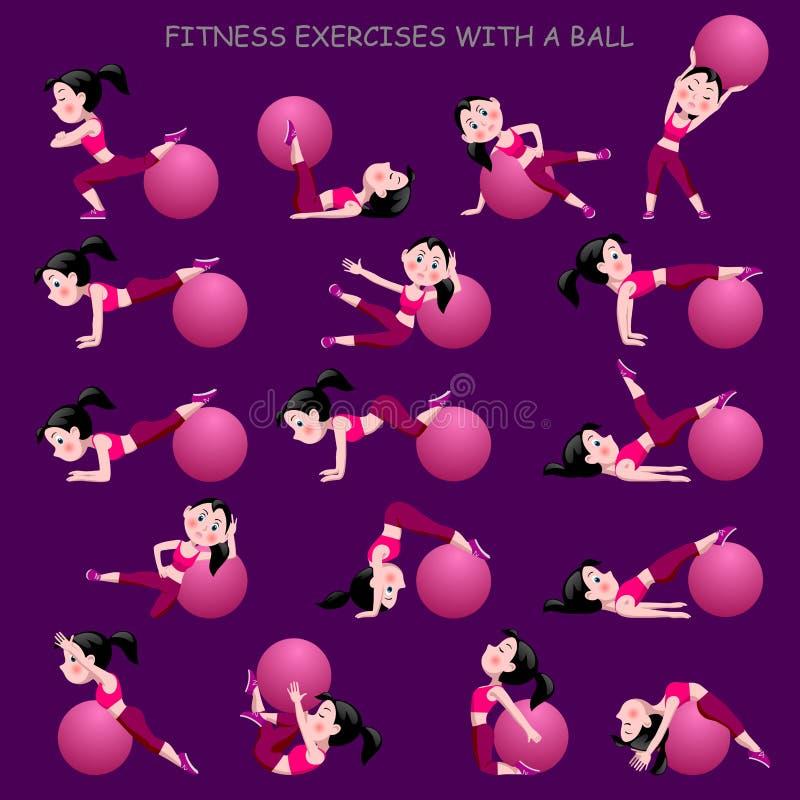 Девушка шаржа в розовом костюме делая тренировки фитнеса с шариком бесплатная иллюстрация