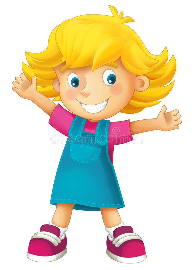 Девушка шаржа дето- счастливая иллюстрация штока