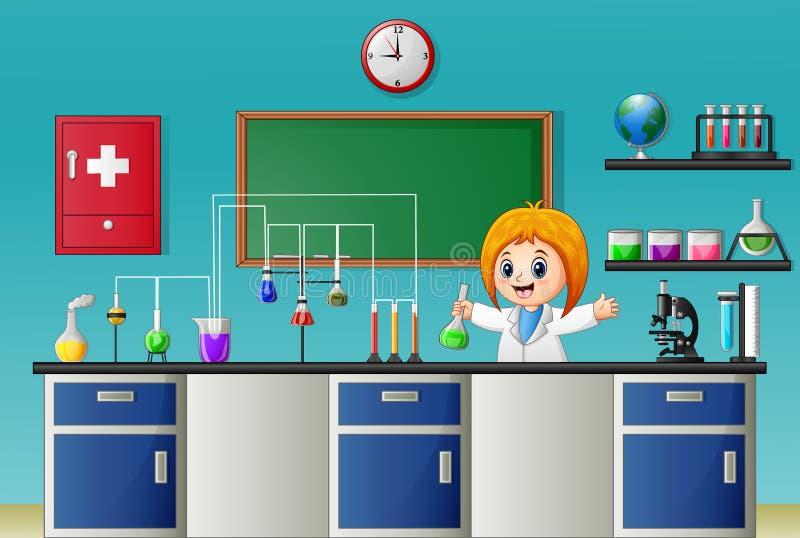 Девушка шаржа делая химический эксперимент в лаборатории бесплатная иллюстрация