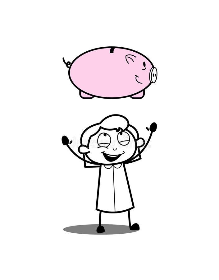 Девушка шаржа играя с копилкой бесплатная иллюстрация