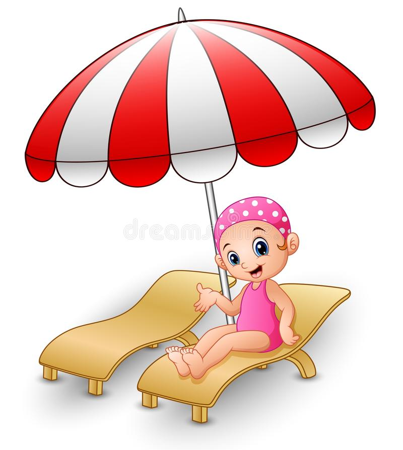 Девушка шаржа ослабляя на шезлонге бесплатная иллюстрация