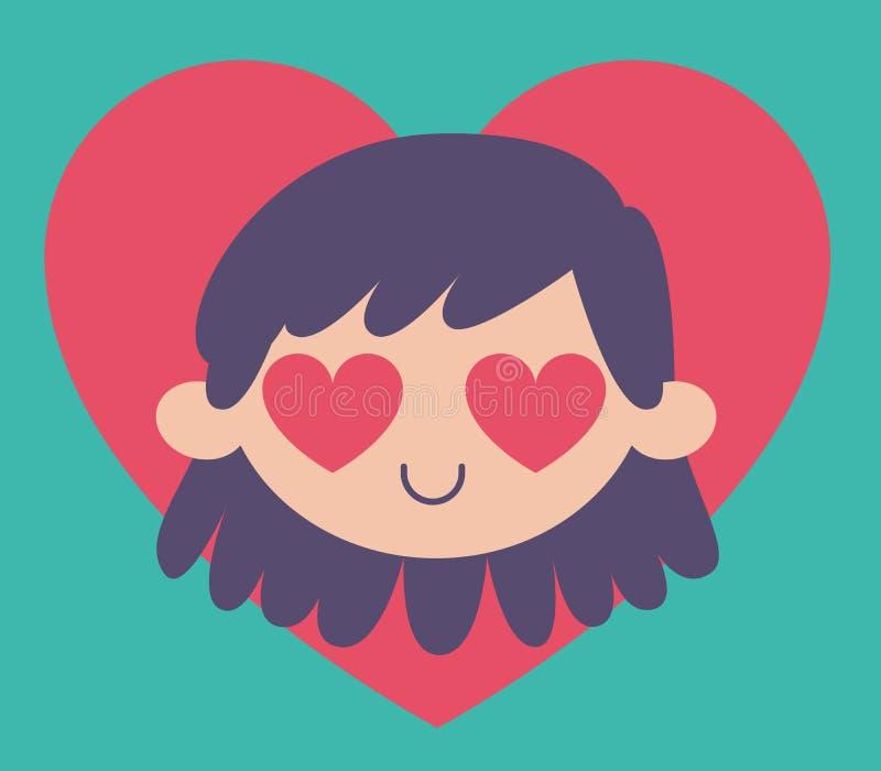 Девушка шаржа сумашедше в влюбленности иллюстрация штока