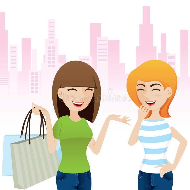 Девушка шаржа счастливая говоря после ходить по магазинам иллюстрация вектора