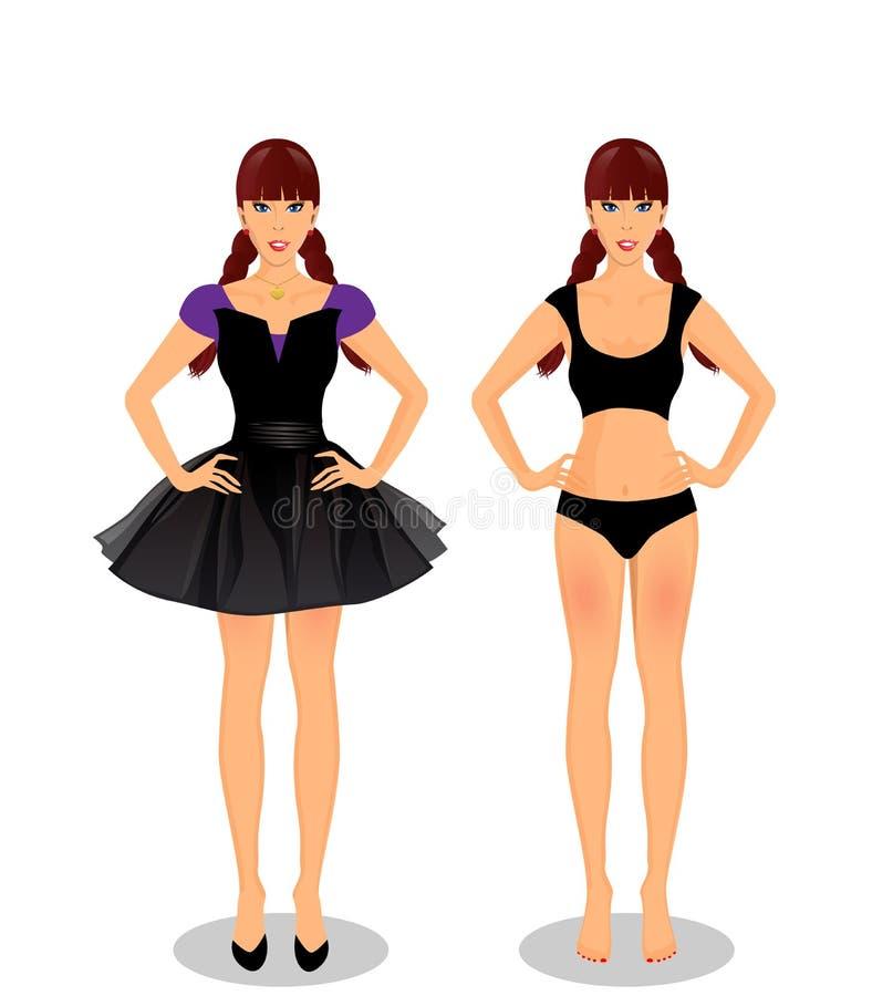 Девушка шаржа с заплетенными косичками в платье и нижнем белье иллюстрация вектора
