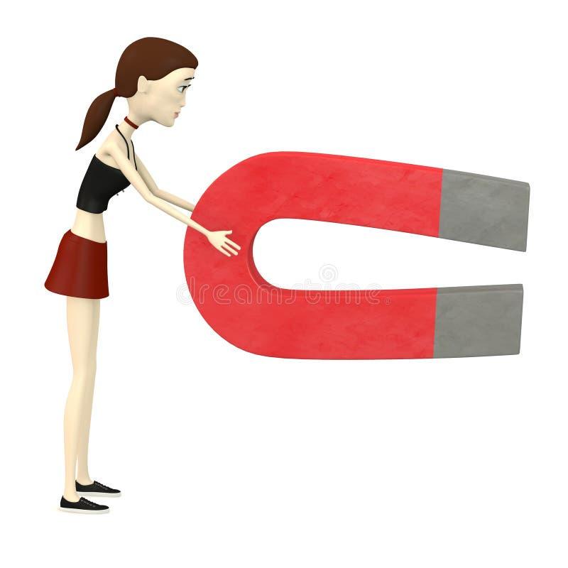 Девушка шаржа с магнитом бесплатная иллюстрация