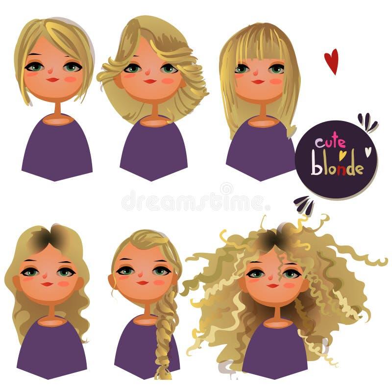Девушка шаржа с различными волосами иллюстрация штока