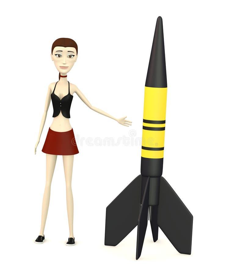 Девушка шаржа с ракетой иллюстрация вектора