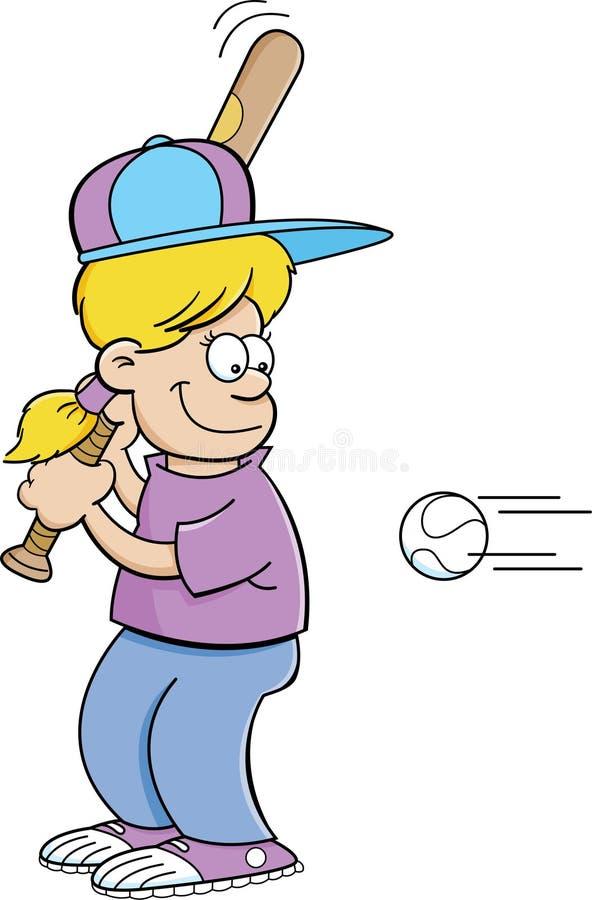 Девушка шаржа ударяя бейсбол бесплатная иллюстрация