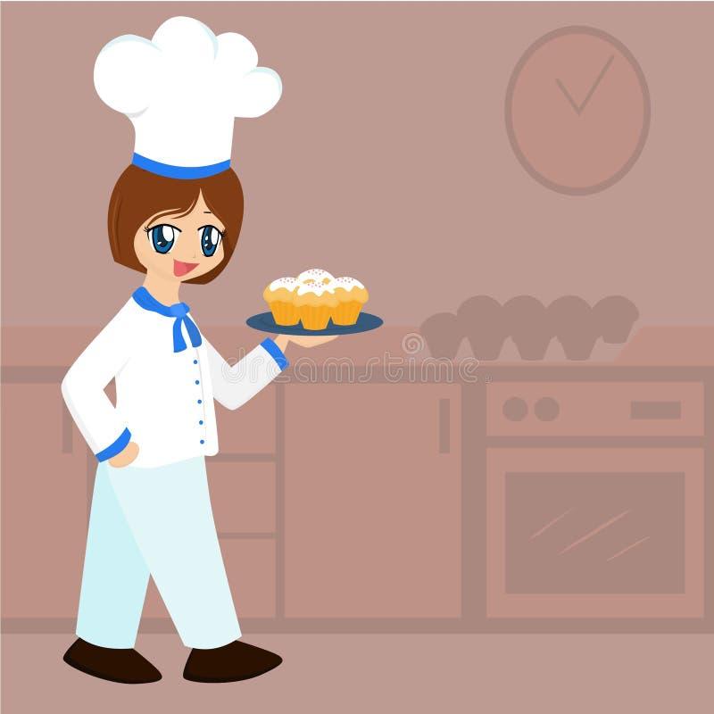 девушка шаржа хлебопека милая бесплатная иллюстрация