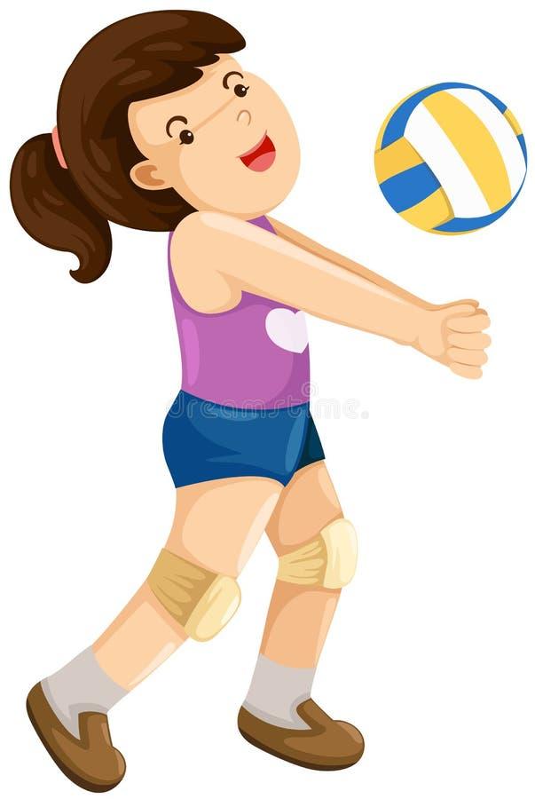 девушка шарика играя залп иллюстрация вектора
