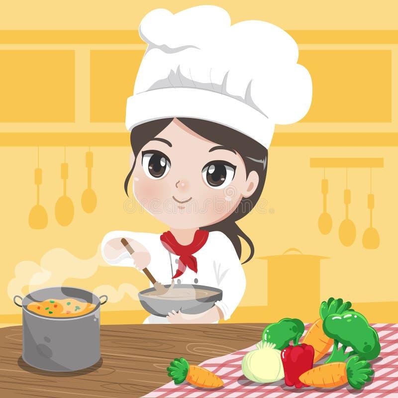 Девушка шеф-повара варит в ее кухне с любовью иллюстрация вектора