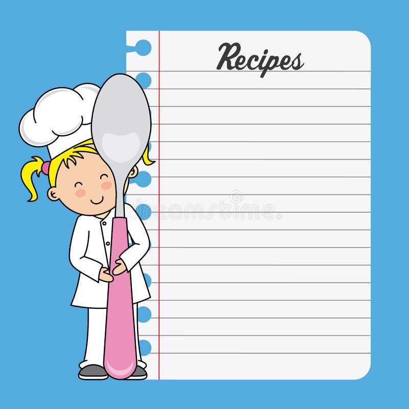 Девушка шеф-повара с ложкой и чистым листом иллюстрация штока