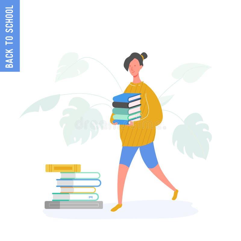 Девушка школы идя с книгами от библиотеки, ребенка или студента идя обучить, коллежа или университета r иллюстрация вектора