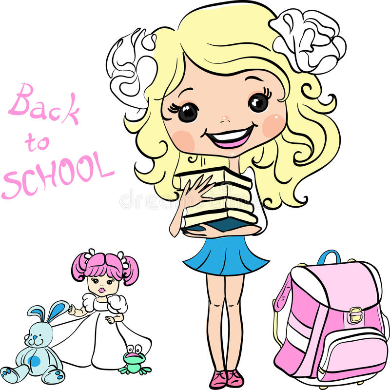 Девушка школы младенца вектора милая бесплатная иллюстрация