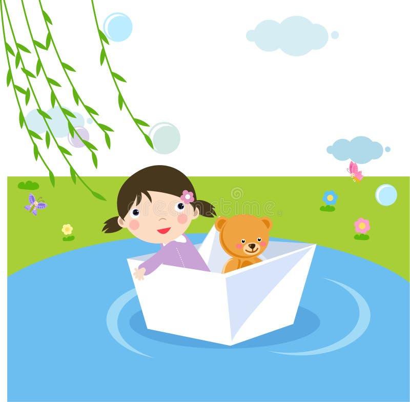 девушка шлюпки меньшяя бумага бесплатная иллюстрация
