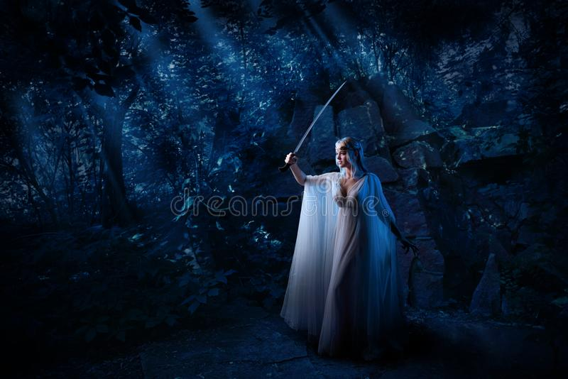 Девушка эльфа в версии леса ночи стоковое изображение rf