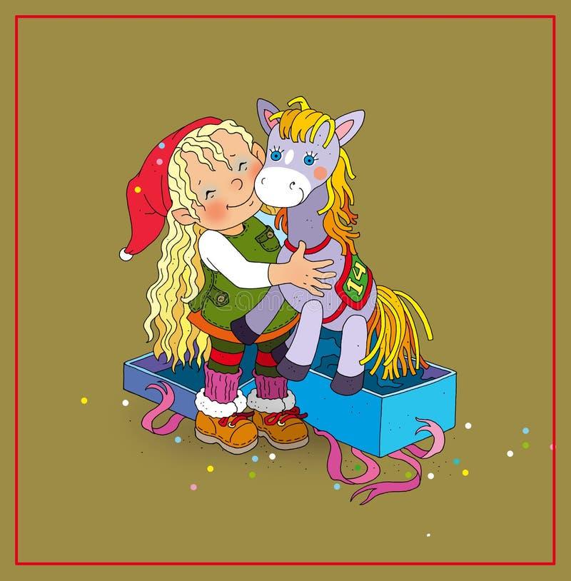 Девушка эльфа получила подарок лошади игрушки иллюстрация вектора