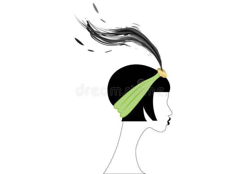 Девушка язычка, ретро женщина двадчадк Ретро дизайн с красивым стилем 1920s портрета, острословие приглашения партии силуэта моды бесплатная иллюстрация