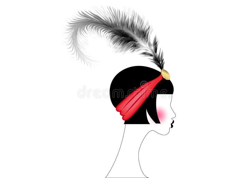 Девушка язычка, ретро женщина двадчадк Ретро дизайн с красивым стилем 1920s портрета, острословие приглашения партии силуэта моды иллюстрация вектора