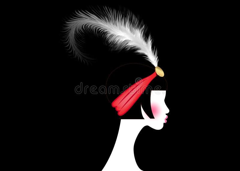 Девушка язычка, ретро женщина двадчадк Ретро дизайн с красивым стилем 1920s портрета, острословие приглашения партии силуэта моды иллюстрация штока