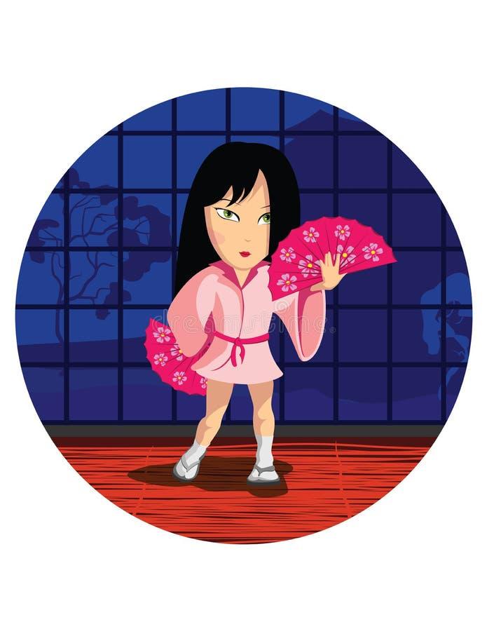 Девушка Японии танцев стоковое фото rf