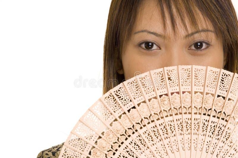 девушка 5 вентиляторов стоковая фотография rf