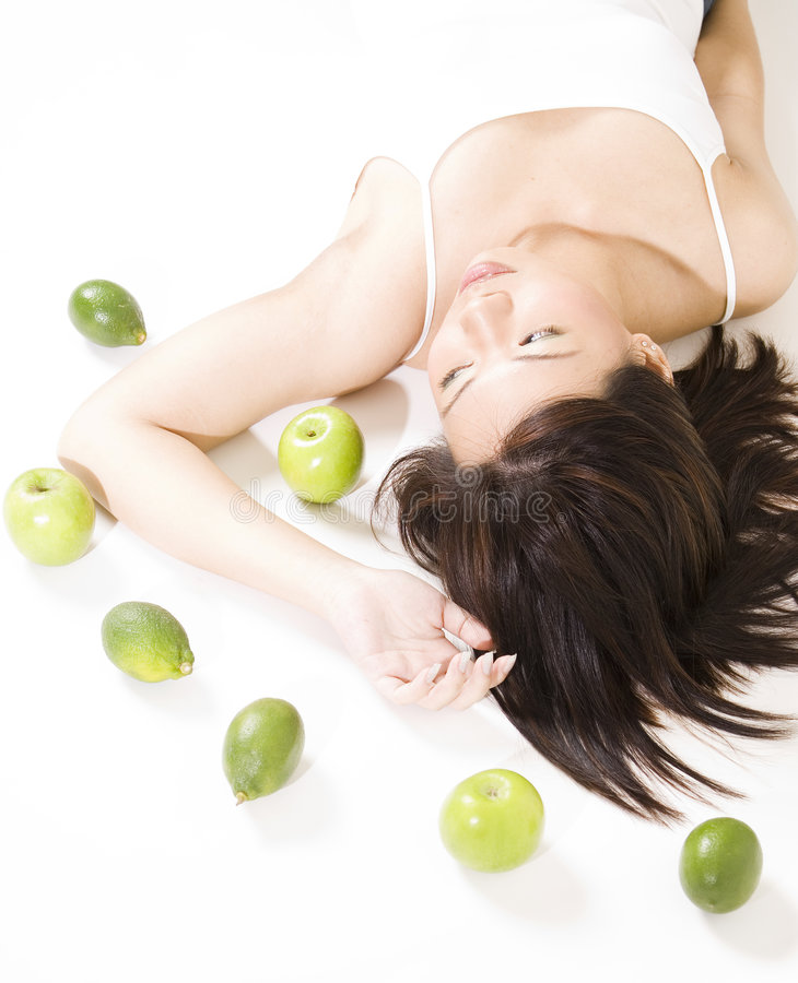 девушка 6 плодоовощей стоковое фото rf