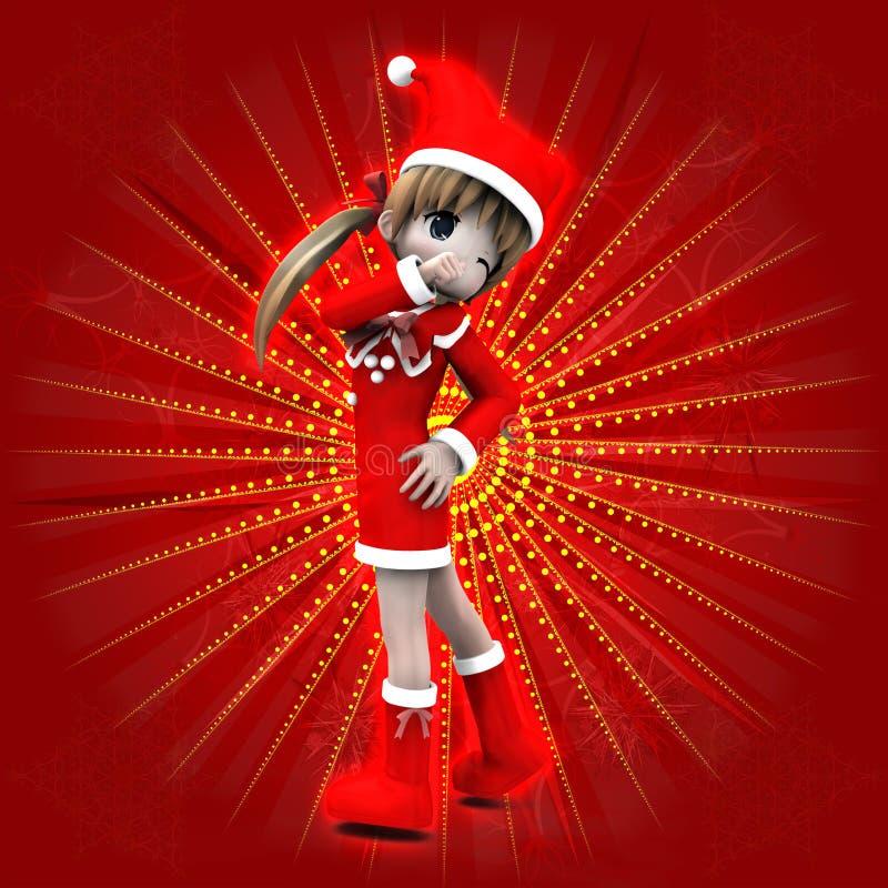 Девушка Anime в платье рождества иллюстрация вектора