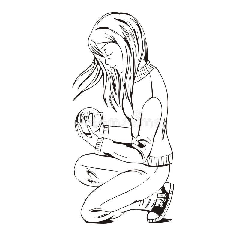 Девушка Anime с сообщением влюбленности иллюстрация вектора