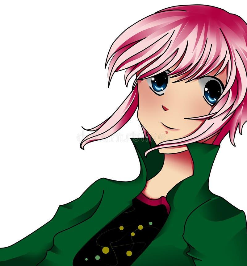 девушка anime иллюстрация штока