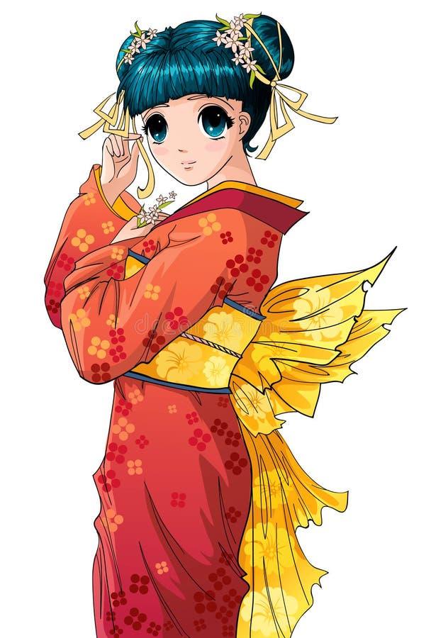 девушка anime иллюстрация вектора