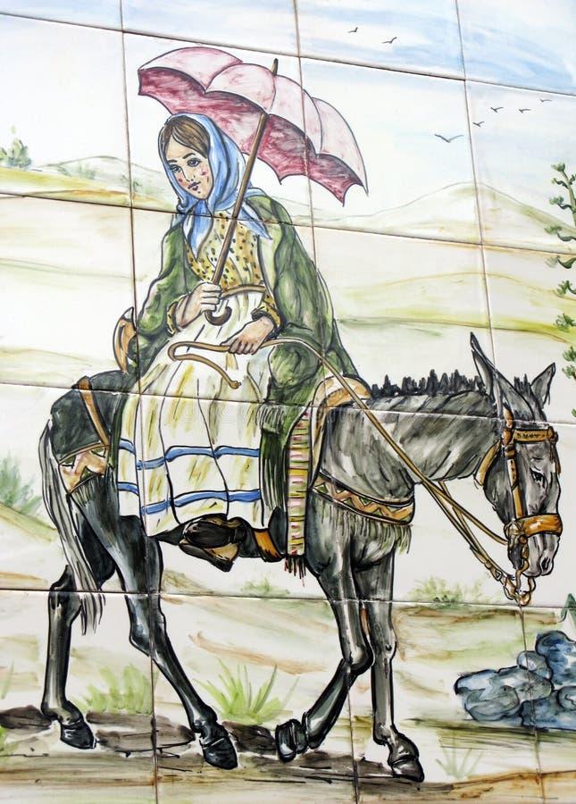 Download Девушка Azulejo при зонтик ехать осел Стоковое Изображение - изображение насчитывающей традиционно, типично: 41657889