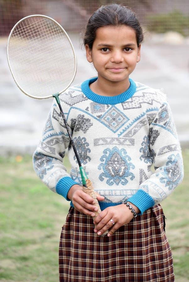 девушка badminton стоковое фото