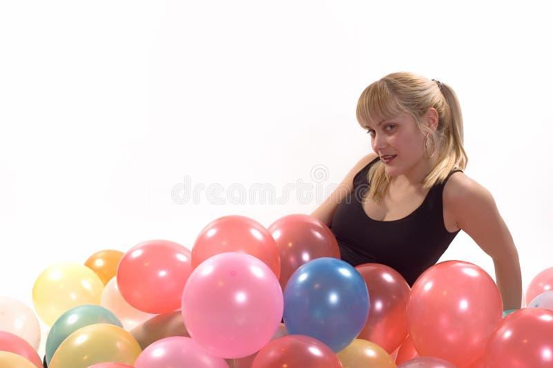 девушка ballons стоковая фотография rf