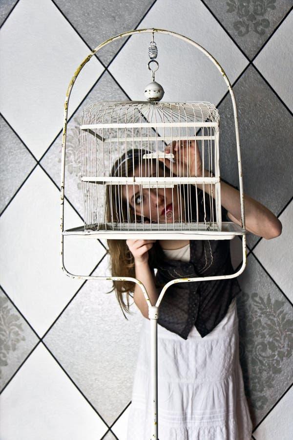 девушка birdcage стоковые изображения rf