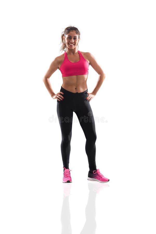 Девушка Determinated на спортзале готовом для того чтобы начать урок фитнеса стоковое изображение