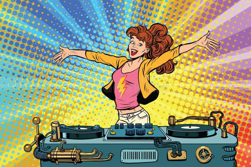 Девушка DJ бьет образ жизни молодости партии иллюстрация штока