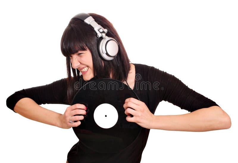 Девушка dj царапает lp стоковые фотографии rf