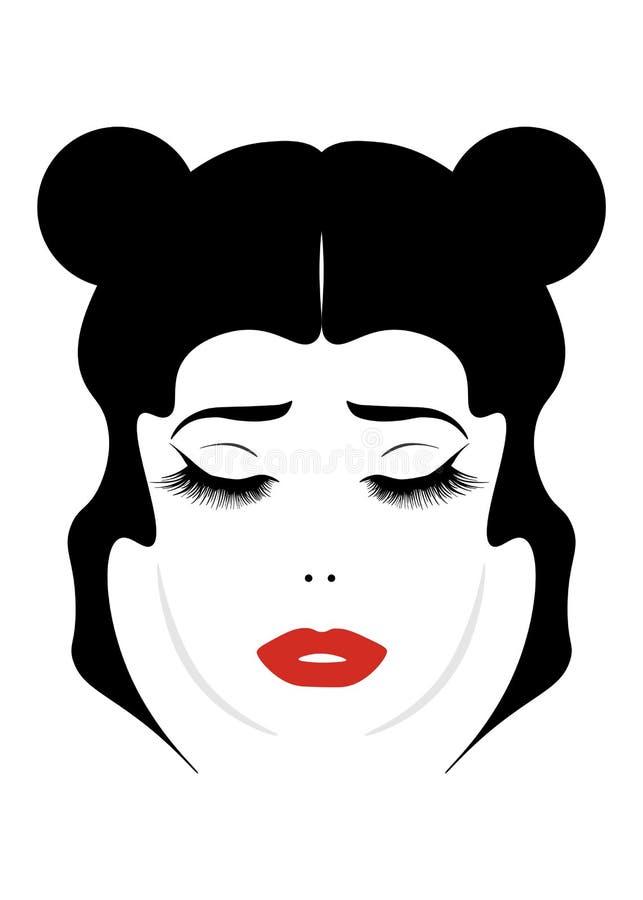 девушка eautiful joyfully мультфильма белокурая с волосами собранными в портрете ponytail изолированном на белой предпосылке бесплатная иллюстрация
