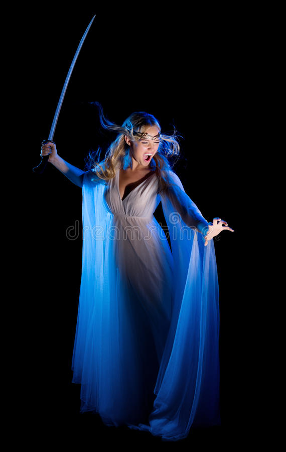 Девушка Elven с шпагой стоковые фотографии rf