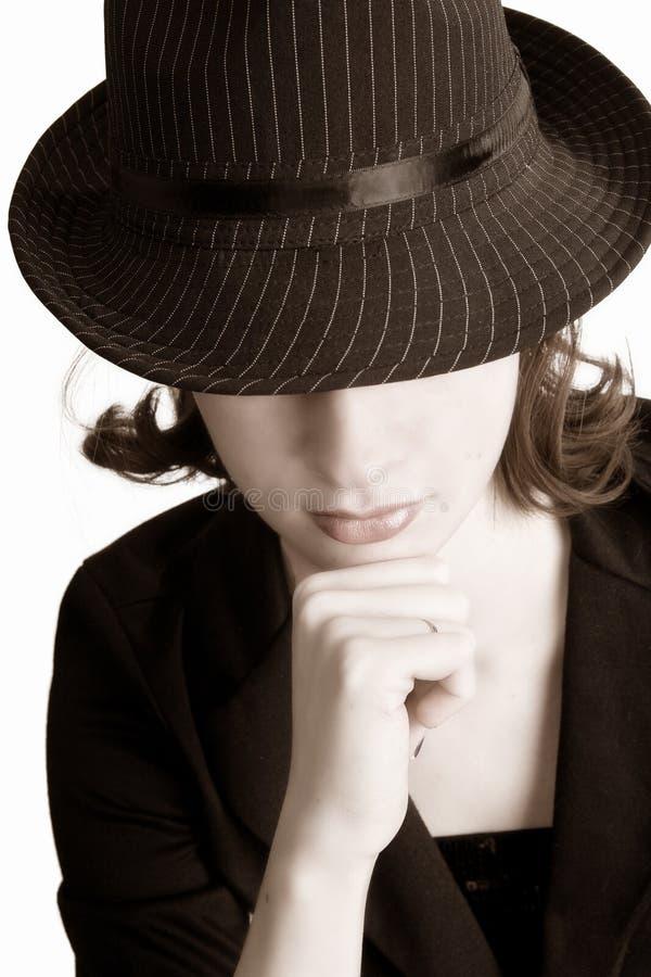 девушка fedora стоковое изображение