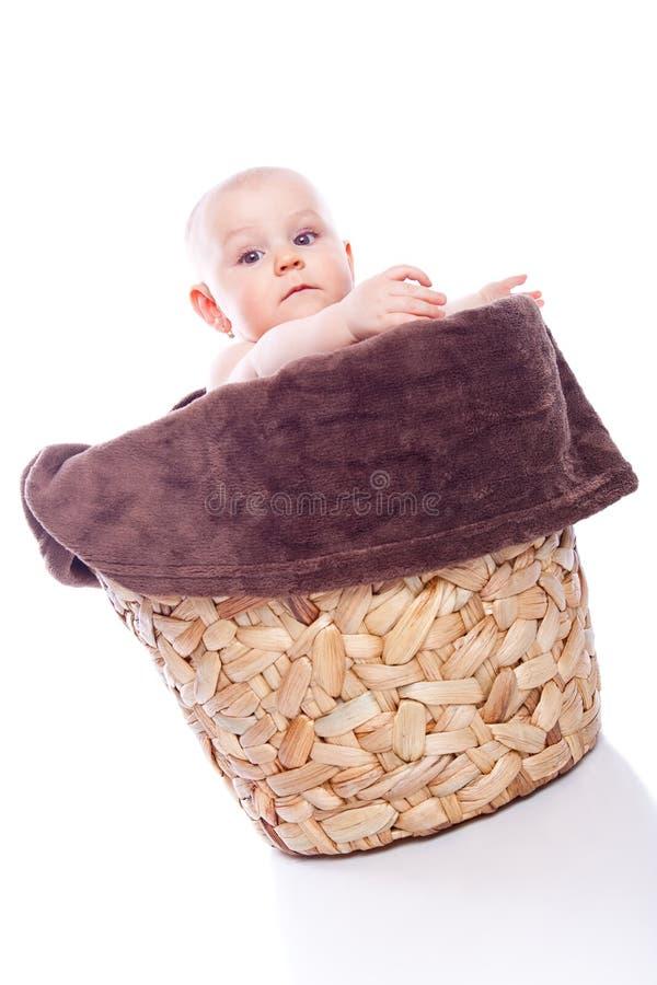 девушка flowerpot младенца стоковое фото rf