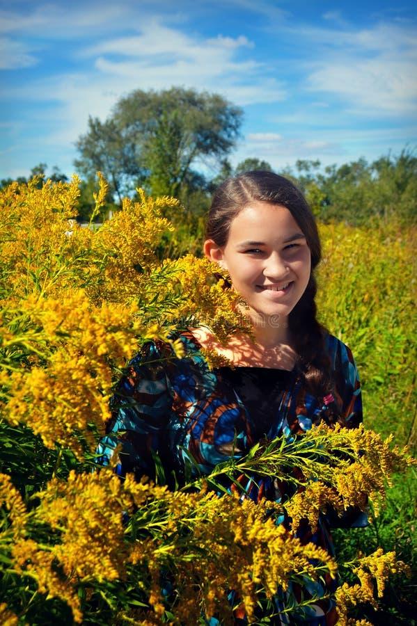 Девушка Goldenrod стоковая фотография rf