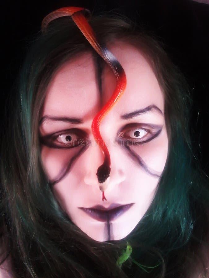 Девушка gorgona Медузы с змейками на ее голове стоковое изображение rf