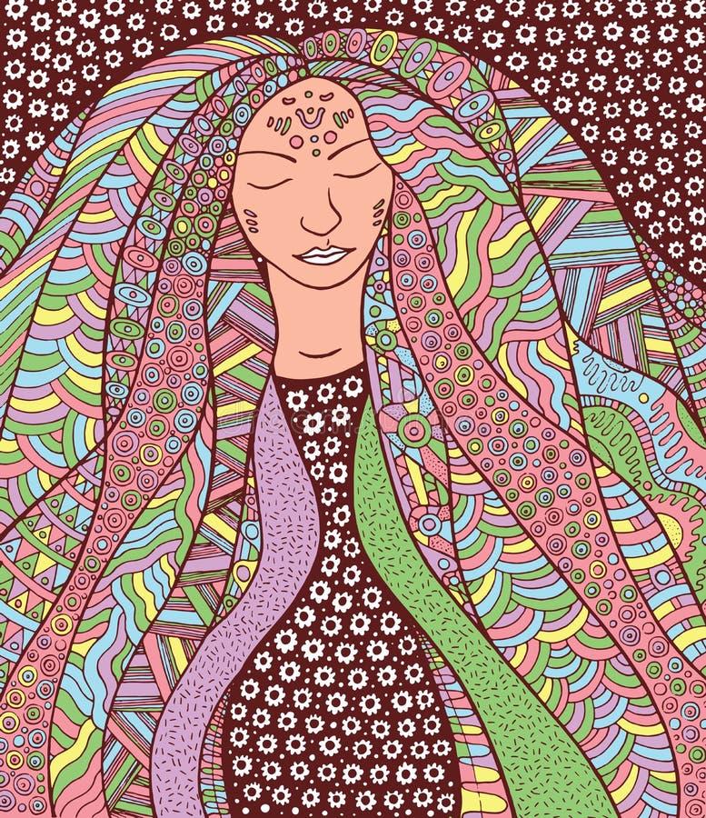 Девушка hippie шамана с богато украшенными волосами Иносказание для исландского Auro иллюстрация вектора