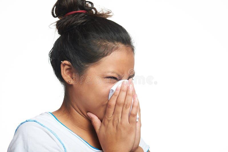 Девушка Latina с гриппом стоковое изображение
