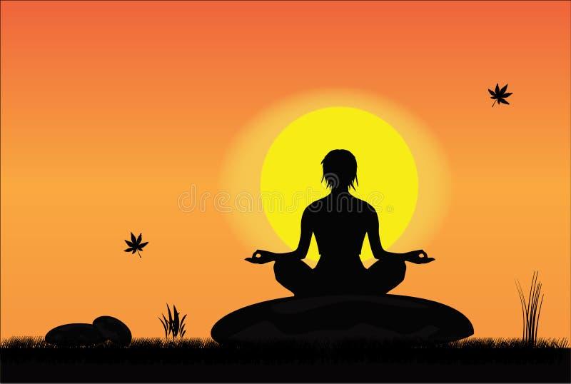Девушка meditating в мирной установке иллюстрация штока