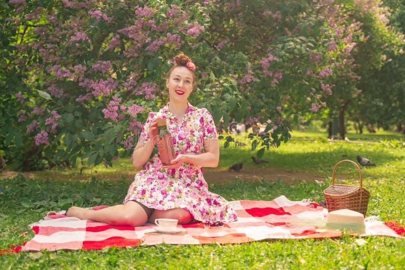 Девушка pinup возлюбленного очаровывая в платье лета на checkered одеяле в парке около кустов сирени наслаждается жизнью и leisu стоковые фото